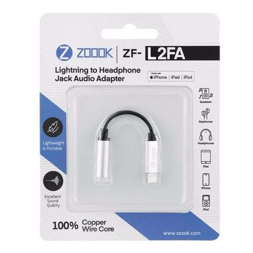 Zoook ZF L2FA SL Lightning to Aux Female Connector, Works with iPhone,iPad,iPhone - Silver