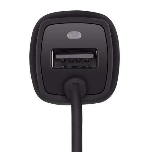 Zoook ZF C2UM 2 USB 15.5W Car Charger with Micro USB Spring Coiled Cable - Black