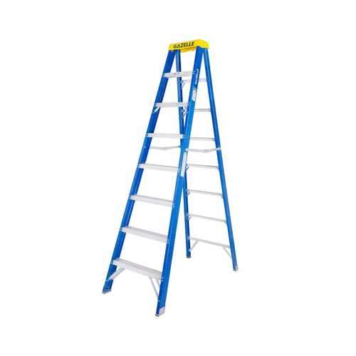 GAZELLE - 8 Ft. Fiberglass Step Ladder for working height up to 12 Ft.