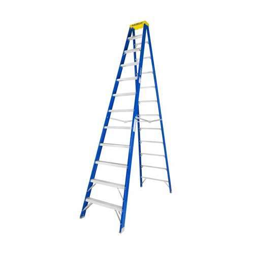 GAZELLE - 12 Ft. Fiberglass Step Ladder for working height up to 16 Ft.