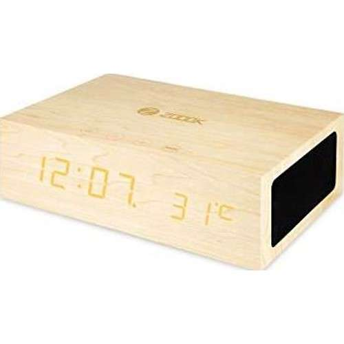 Zoook Wireless Stereo Speaker System & Wood Alarm Clock with Temperature Display - Coffee Brown