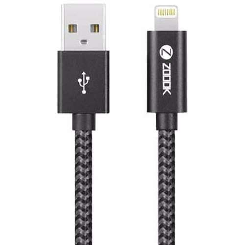 Zoook Apple Licensed iphone Charging Cable Made of Braided Nylon with Aluminium Connectors ( 3Meter) - Black+Grey