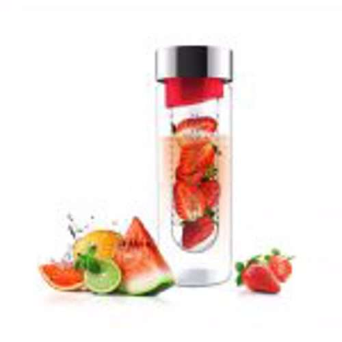 ASOBU Flavor It Glass Water Bottle With Fruit Infuser Red 600 ml