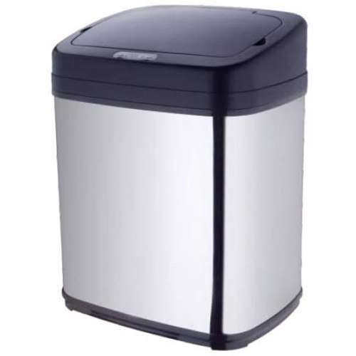 TechMate 15 Liters Automatic Sensor Dustbin with Automatic Opening System - Silver / Black