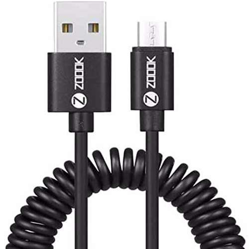 Zoook Coiled Micro USB Charging Cable 2.1A speed 1.2m - Black