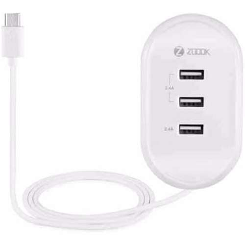 Zoook Triple USB Wall Charger with hidden 1m Micro USB Cable and LED Indicators Total 4.8A Output UK plug - White