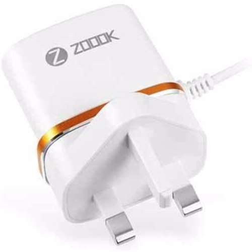Zoook Travel Charger 2 USB Output 5V 2.1A ( UK Plug ) with Micro charging Cable - White