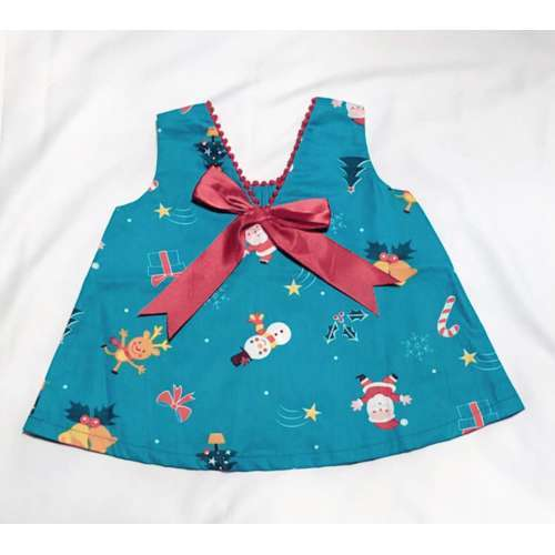CHA-A-BABY Christmas Blue Girl With 1 Bow (9-12 Months)