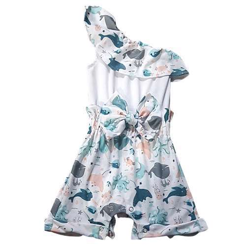 CHA-A-BABY Whale Onesie Girl (9-12 Months)