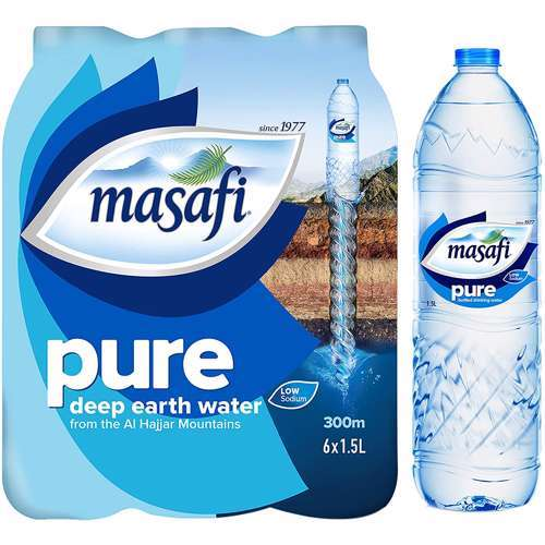 Masafi Pure Low Sodium Natural Water - 1.5Ltr  (Pack of 6)