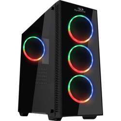 Redragon Sideswipe Pro Gaming Pc Case,Tempered Glass, 3 X 120Mm Fan Included (Case Only), Addressable RGB - Black