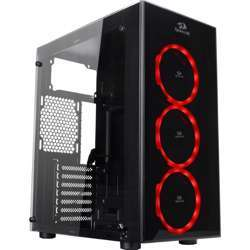 Redragon Thundercracker Gaming Pc Case,Tempered Glass, 3 X 120Mm Fan Included (Case Only) - Black