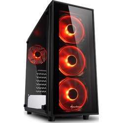 Sharkoon Tg4 Red ATX Midi Tower Case With Red Lighting Fan- Black