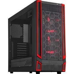 Silverstone - Redline Mid Tower Tower With Window, Red Led Fan, ATX, Black