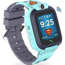 Touchmate Superman Waterproof Mobile Smartwatch For Kids - Built-In Mic - Blue