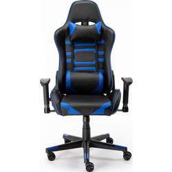 Urban Wave Gaming Chair (RIO PU Leather) with Adjustable Seat Height & Armrest, Headrest Pillow & Lumbar Cushion - Blue & Black