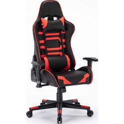 Urban Wave Gaming Chair (RIO PU Leather) with Adjustable Seat Height & Armrest, Headrest Pillow & Lumbar Cushion - Red & Black