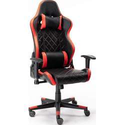 Urban Wave Model Tokio Gaming Chair Computer Office Stylish High Back With Lumbar And Headrest Pillow - Red