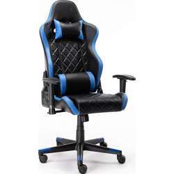 Urban Wave Model Tokio Gaming Chair Computer Office Stylish High Back With Lumbar And Headrest Pillow - Blue