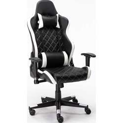 Urban Wave Model Tokio Gaming Chair Computer Office Stylish High Back With Lumbar And Headrest Pillow - White