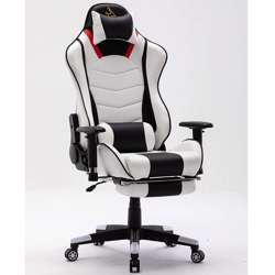 Urban Wave OC 7796 Gaming Chair With Footrest, 2D Armrest with PU Pads, Lumbar and Headrest Pillow (Large) - White