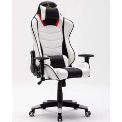 Urban Wave OC 7795 Without Footrest Gaming Chair, 2D Armrest with PU Pads, Lumbar and Headrest Pillow (Large) - White