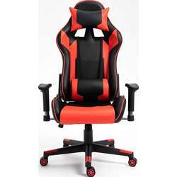 Urban Wave High Back PU Leather 7786 Gaming Chair Computer Office Chair with 2D Armrest Adjustment and Lumbar Support - Red & Black