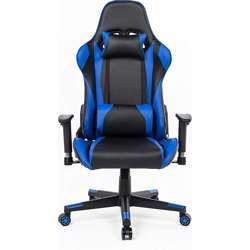 Urban Wave High Back Gaming Chair, Computer Chair Racing Style with Thickly padded seat, Headrest Pillow and Lumbar Support (Faro Model) - Blue