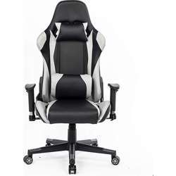 Urban Wave High Back Gaming Chair Computer Chair Racing Style with Thickly padded seat, Headrest Pillow and Lumbar Support (Faro Model) - Grey