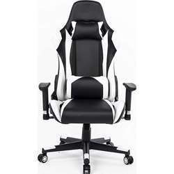 Urban Wave High Back Gaming Chair Computer Chair Racing Style with Thickly padded seat, Headrest Pillow and Lumbar Support (Faro Model) - White & Black