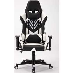 Urban Wave Gaming Chair (Seoul-White) Racing Style Gaming Chair with Head Pillow and Lumbar Cushion - White