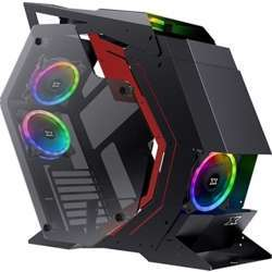 Xigmatek Perseus (Atx, Front & Left & Right Tempered Glass, 5 Pcs Cy120 Fans W Control Box & Remote) - Black & Red