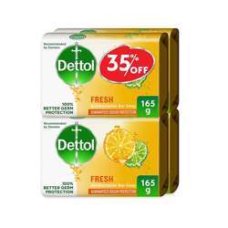 Dettol Fresh Anti-Germ Bar Soap 165g - Pack of 4 at 35% off