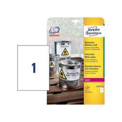 Avery L4775-20 Weatherproof Film Labels - A4, 20 Labels / 20 Page