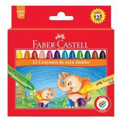 Faber Castell FCIN120040 Jumbo Wax Crayon - Round, Assorted Pack of 12