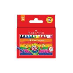 Faber Castell FCIN120052 Slim Wax Crayon - Round, Assorted Pack of 12