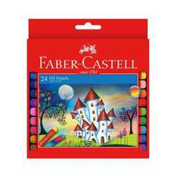 Faber Castell FCIN126024 Oil Pastels - Round, Assorted Pack of 24