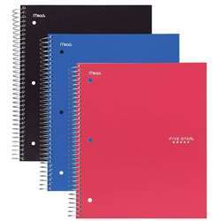 Mead Five Star Spiral Notebook - 26.5 x 20.3CM, Assorted Color Pack of 3