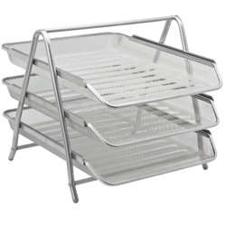 3-Tier Mesh Letter Tray Silver