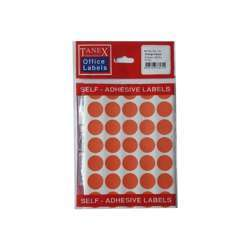 Tanex OFC-131 Dot Stickers - 19mm, Orange, 300 labels