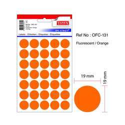 Tanex OFC-131 Office Labels - 19mmD, Fluorescent Orange, 10 Sheets, 350 Labels