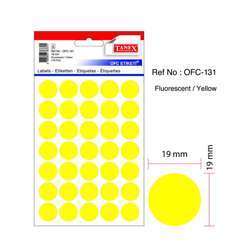Tanex OFC-131 Office Labels - 19mmD, Fluorescent Yellow, 10 Sheets, 350 Labels