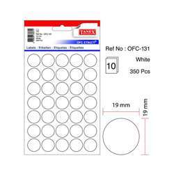 Tanex OFC-131 Office Labels - 19mmD, White, 10 Sheets, 350 Labels