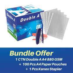 Double A A4 80GSM (1ctn + 1pc Kanex Stapler + Deluxe 100pcs A4 Clear Plastic Punched Pockets (80MIC) Bundle Offer