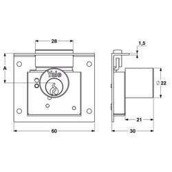 Yale 830 Cabinet Locks for wooden wardrobe and drawers 25mm preview