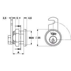 Yale 890 Universal Cylinder for metal cabinets 25mm Nickel Plated 90° rotation preview