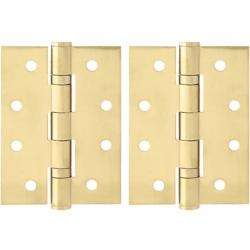 """Dorfit Two Ball Bearing Door Hinges 4""""x3.5""""x3 mm Gold Finish preview"""
