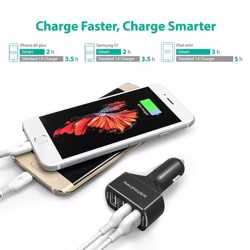 RAVPower QC3.0 36W 4-Port USB Car Charger - Black preview