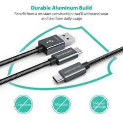 RAVPower 2 in 1 Nylon Braided Type-C Cable 3.3ft - Gray preview
