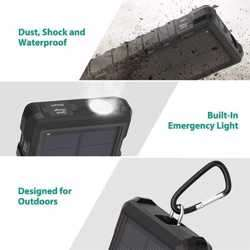 RAVPower Rugged Series Solar Portable Charger 25000mAh - Black preview